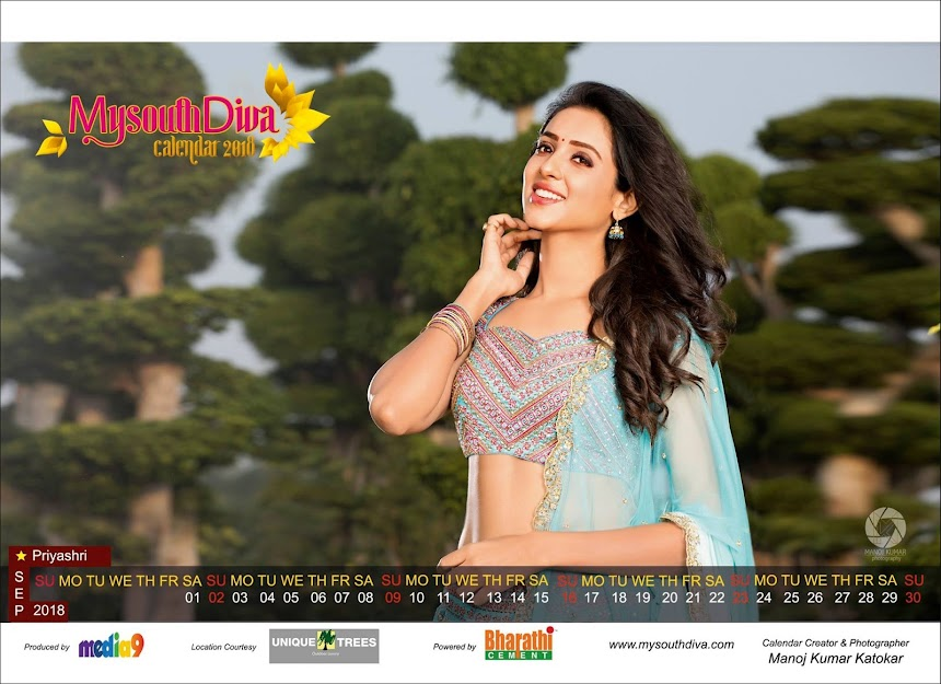 My South Diva Calendar 2018 - Priyasri