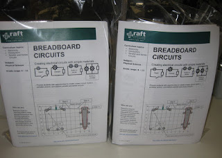 Two packaged kits for Breadboard Circuits, Resource Area for Teachers, Sunnyvale, California
