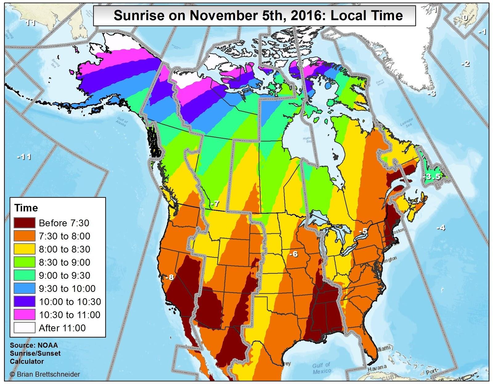 November 5, latest sunrise of the year