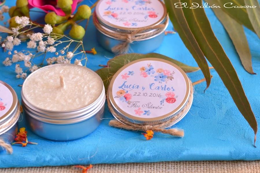 Detalles para invitados bodas velas perfumadas naturales