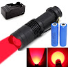 BestFire 100 Yards Super Mini Zoomable 300 Lumens CREE Q5 red LED 3-Mode AA/14500 Battery Adjustable Focus Zoom Tactical Flashlight red Hunting Light with 2000mah 14500 Batteries