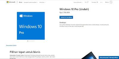 Harga Lisensi Windows 10 Pro Original Dari Microsoft