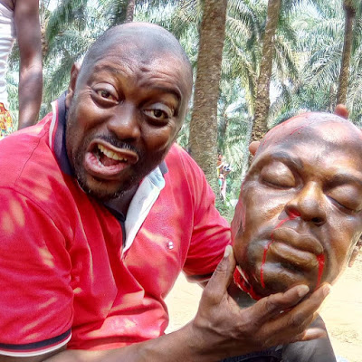 Actor Segun Arinze Poses With Artificial Human Head On Movie Set (photo)