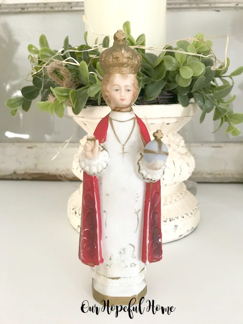 vintage chalkware infant of prague statue