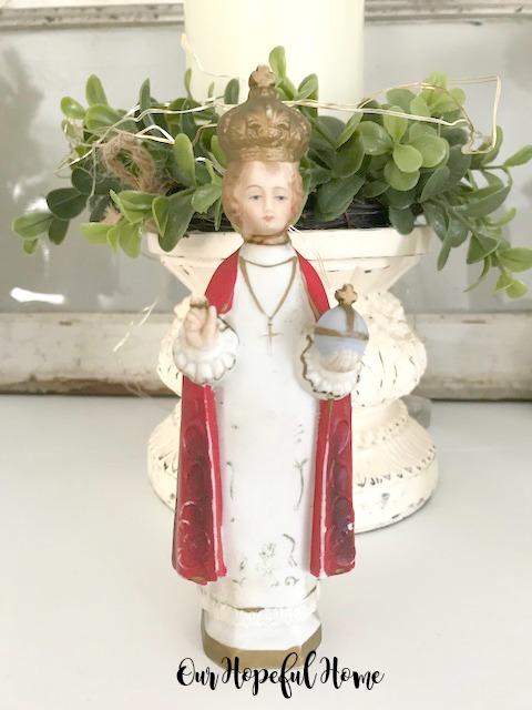 vintage chalkware infant of prague statue