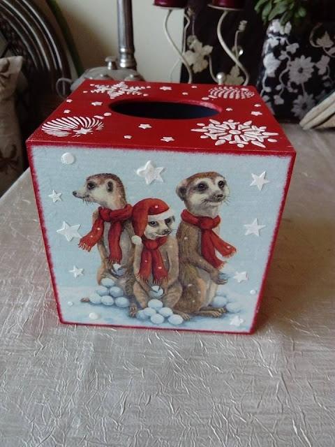 Inspiracje ze świata przyrody – świąteczne chusteczniki z myszami i surykatkami :)