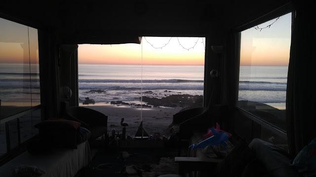 Sea shack tiny house beach front view