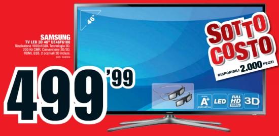 Sottocosto smart tv 3d samsung ue46f6100 prezzo offerta da for Tv 75 pollici prezzo
