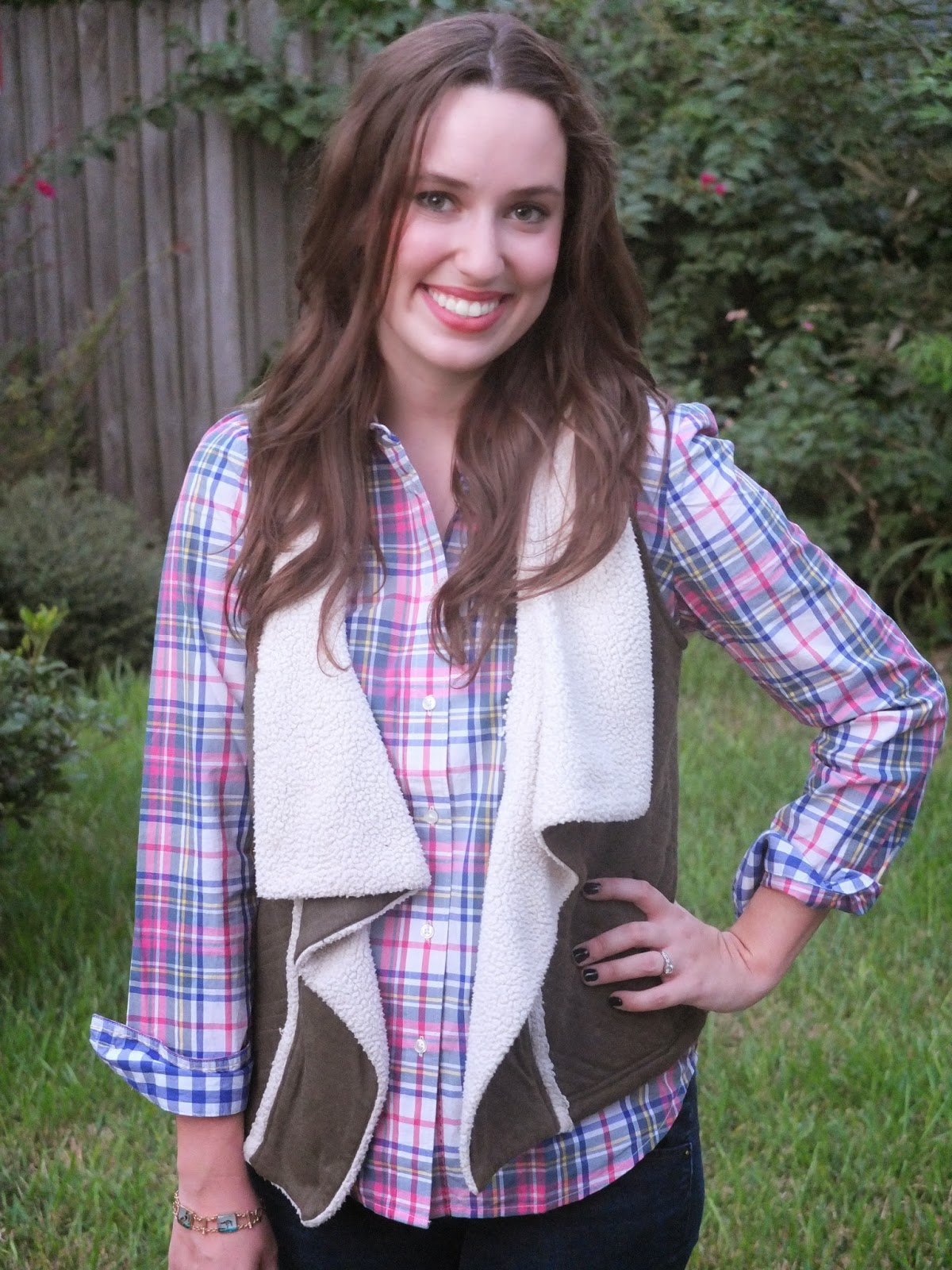 Boden The Shirt, Boden the Shirt Red Check, Boden The Shirt Plaid, Boden Plaid Shirt, Anthropologie Green Vest,