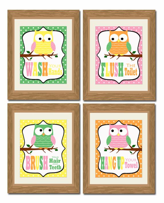 Bathroom Decor Owls: Puddle Designs: Printable Bathroom Owls