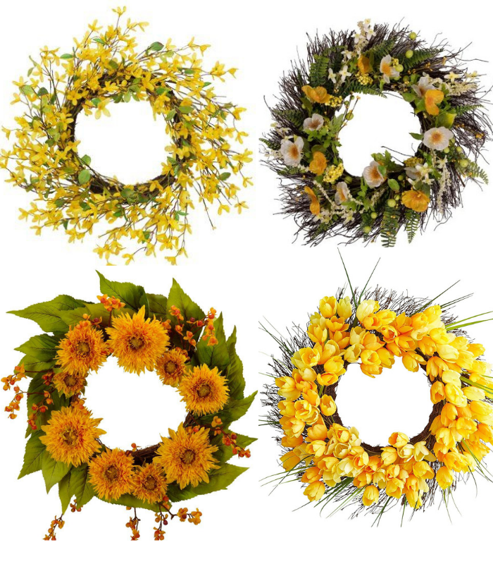 yellow spring wreaths