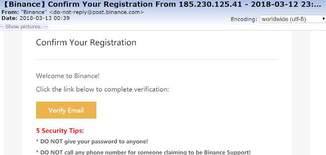 message envoyé par Binance pour vérifier l'email