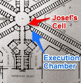 1851 Plan for Wandsworth Prison - close-up - location of Josef's cell and execution chamber. (Wandsworth Prison Museum has a copy of the plan)
