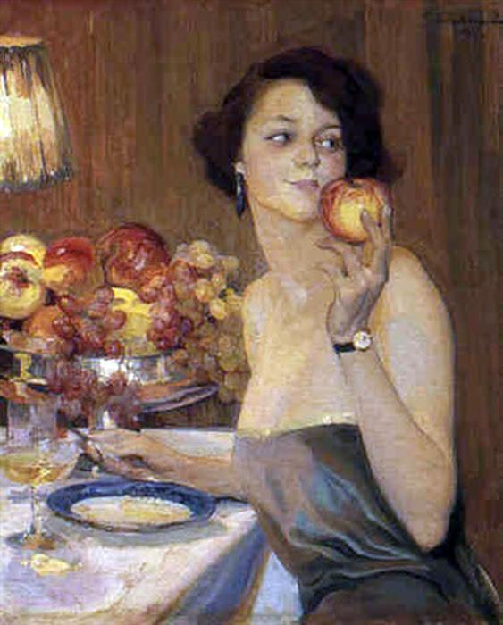 Una manzana Madura, Francisco Pons Arnau, Pintor español, Pintor Valenciano, Pintura Valenciana, Impresionismo Valenciano, Pintor Pons Arnau, Retratos de Pons Arnau