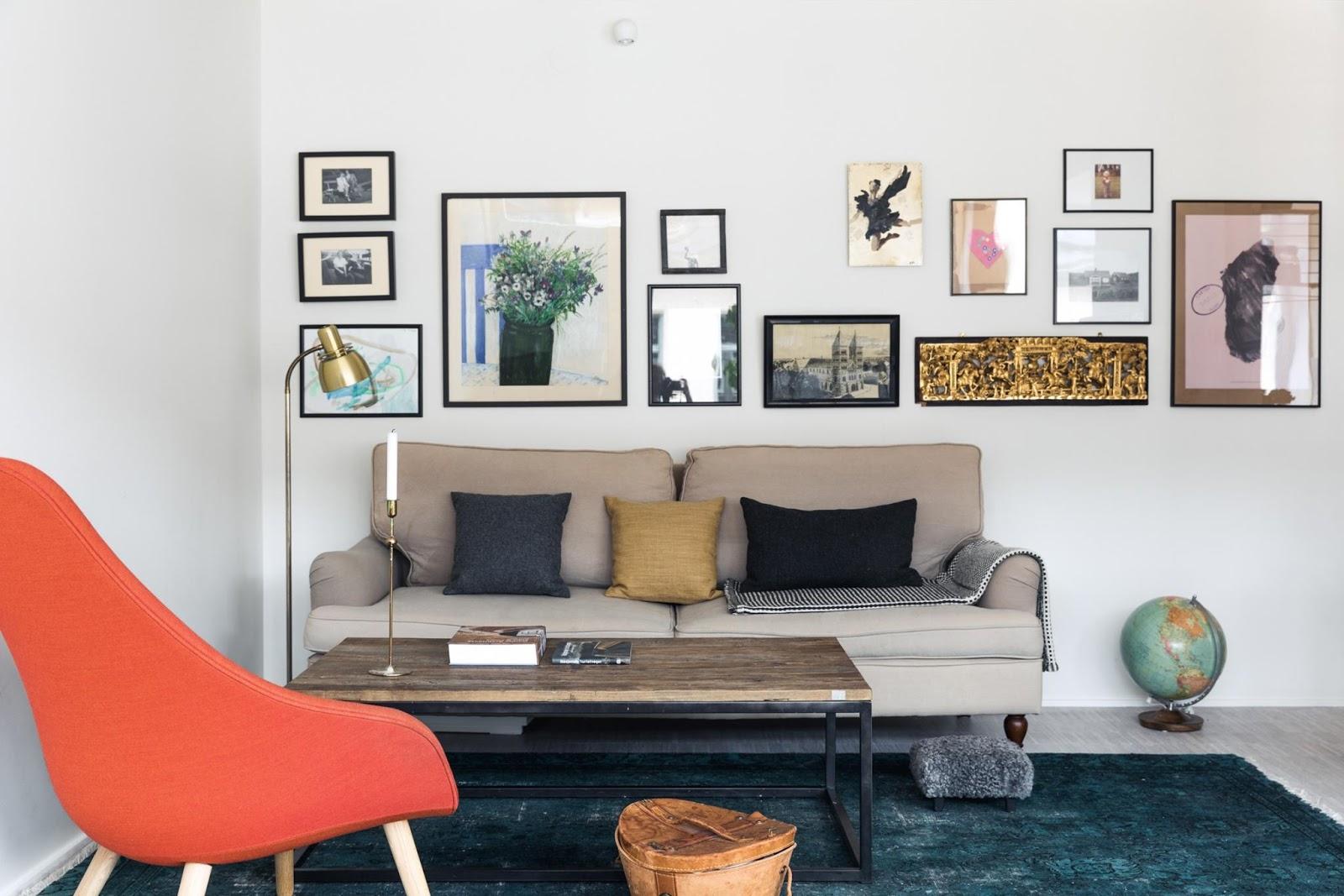 living room inside lofty scandinvian interior