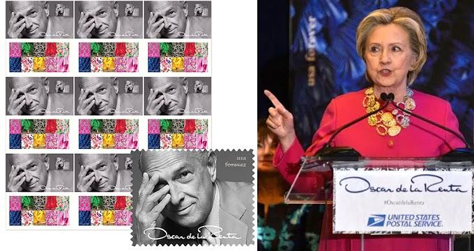Oscar de la Renta para siempre, lanzan sello postal en honor al diseñador; Hillary y Espaillat resaltan
