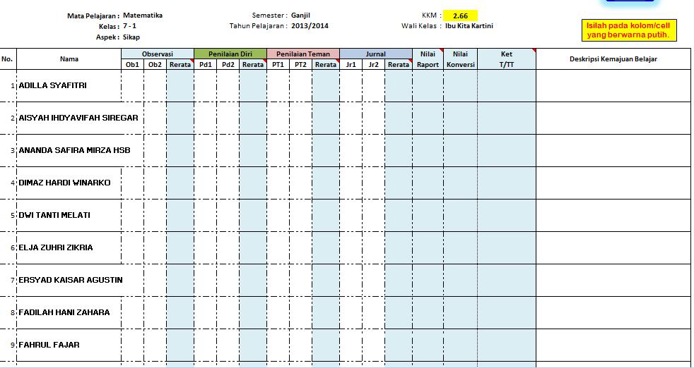 Format Daftar Nilai Kurikulum 2013 Dengan Aplikasi Excel