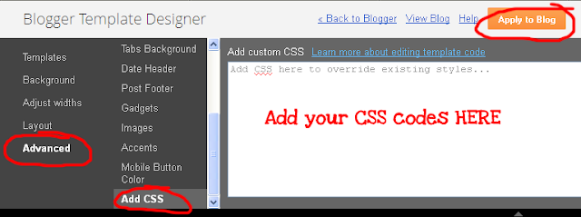 Add CSS codes into your blogger blog easily