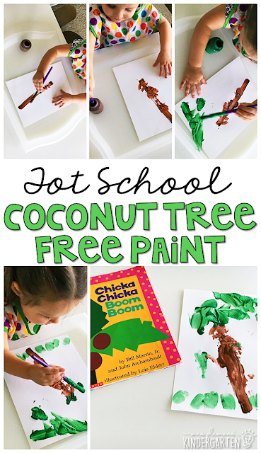 These free paint coconut trees are fun for fine motor practice with a Chicka Chicka Boom Boom theme. Great for tot school, preschool, or even kindergarten!
