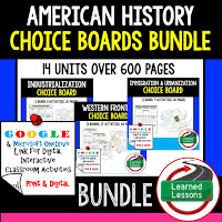 American History Digital Learning, American History Google, American History Choice Boards