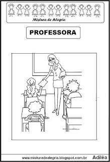 Desenho de professora para colorir