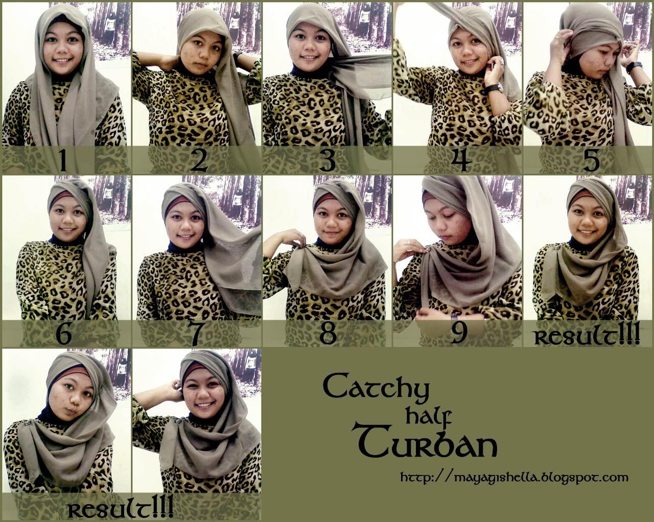 Moonsense Cara Memakai Hijab 16 Catchy Half Turban