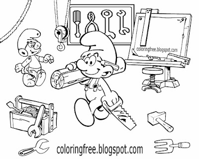 Fun jobs printable for kids Smurfs characters tool clipart workshop Handy Smurf coloring pages free