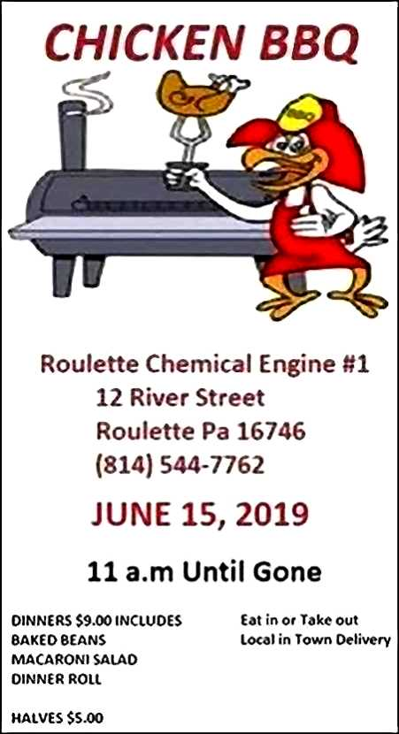 6-15 Chicken BBQ, Roulette Fire Hall
