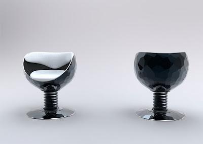 diseño industrial silla futurista en forma de copa