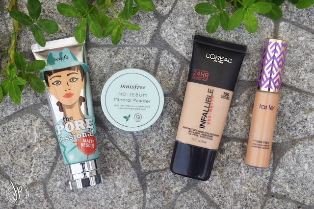 Benefit Porefessional Matte Rescue, Innisfree No-Sebum Mineral Powder, L'Oréal Infallible Pro-Matte in 105, Tarte Shape Tape Concealer in Medium