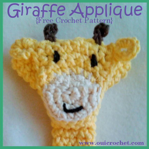 Crochet, Free Crochet Applique Patterns, Free Crochet Pattern, Crochet Applique, Crochet Giraffe Applique,