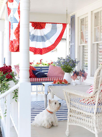 This festive patio decked out with red, white and blue is great for Memorial Day.