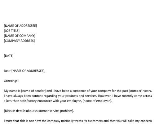 Complaint Letter About Bad Customer Service