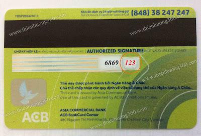Số 123 là số CVV của thẻ Visa Prepaid