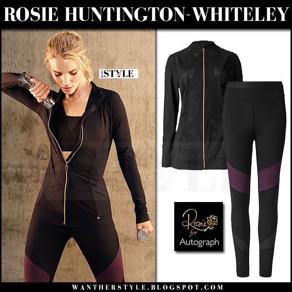Rosie Huntington-Whiteley in black zip jacket, black sports bra and black leggings Rosie for Autograph Activewear 2017 what she wore