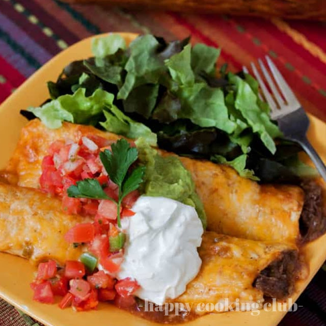 Pressure Cooker Shredded Beef Enchiladas