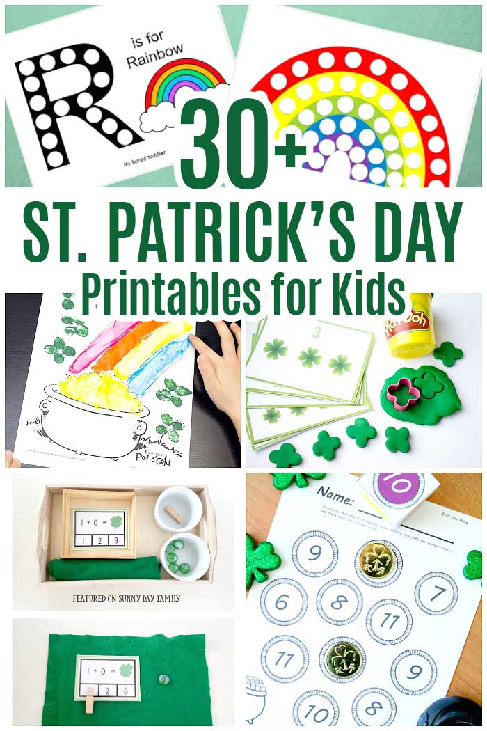 Over 30 St. Patrick's Day printables for kids! Includes printable lunch box notes, printable puppets, printable St. Patrick's Day activities, printable St. Patrick's Day party games, St. Patrick's Day preschool packs, St. Patrick's Day learning activities, St. Patrick's Day treats, and more. #stpatricksday #forkids #printables