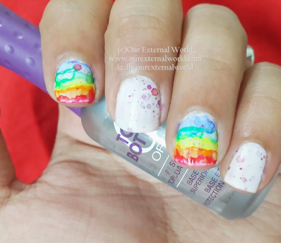 Water Color Nail Art - Rainbow Rain