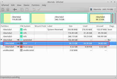 Kemudian reboot, lalu copot DVD ubuntu nya dan masuk ke sistem operasi kalian lalu buka aplikasi gparted untuk melihat perubahannya, Nah ukuran partisi linux saya bertambah jadi 98GB