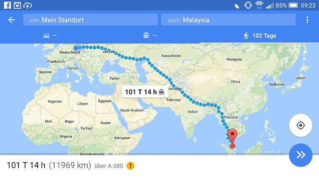 Route nach Malaysia