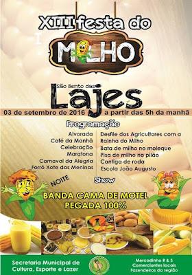 XIII Festa do Milho de São Bento das Lajes acontece dia 03 de setembro.