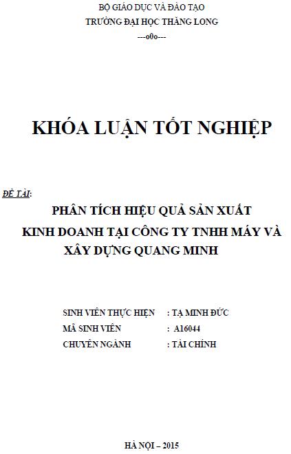 Phân tích hiệu quả sản xuất kinh doanh tại Công ty TNHH Máy và Xây dựng Quang Minh