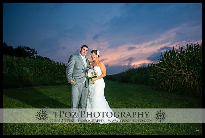 Duke Farm Wedding Sunset Cornfield Photos