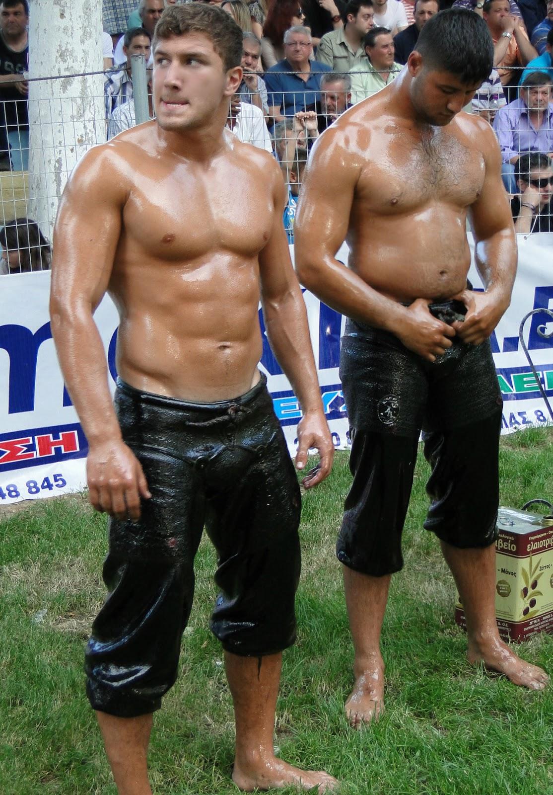 nude male oil wrestling