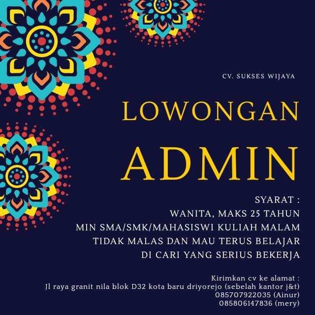 lowongan kerja admin cv sukses wijaya