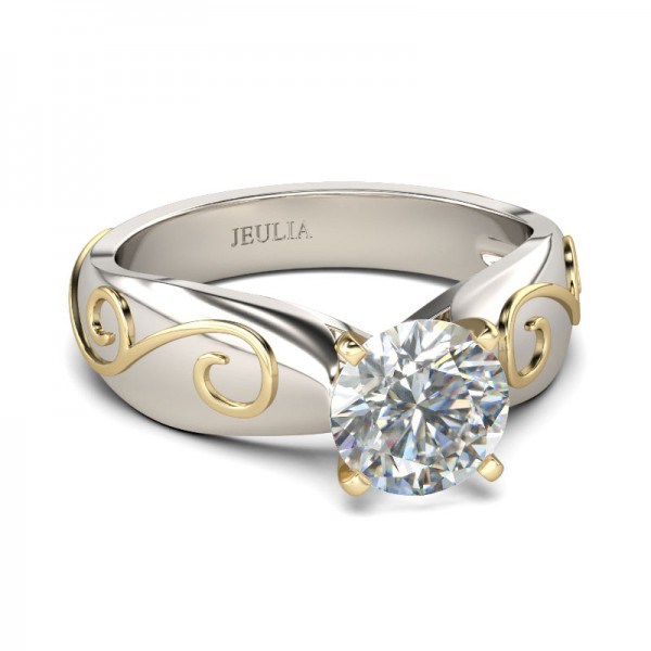 Jeulia Two Tone Solitaire Round Cut Created White Sapphire Engagement Ring