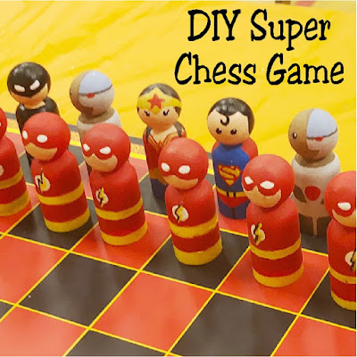 Create a fun and unique chess set for your game night just like this super chess game staring your favorite heroes! It's easy to DIY your own with a little time, imagination, and cute peg pieces.  #chess #gamenight #diygame #superhero #avengers #marvel #dc #diypartymomblog