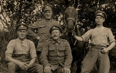 Corporal George Thompson, centre back, and fellow DLI Pioneers on the Marne, France, July 1918 (D/DLI 7/700/31)
