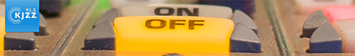 snapshot of KJZZ's Youtube channel web banner.  KJZZ logo and on/off swithcher