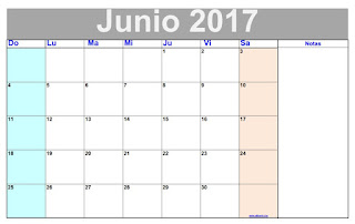 Calendario mensual junio 2017 para imprimir gratis for Calendario junio 2016 para imprimir